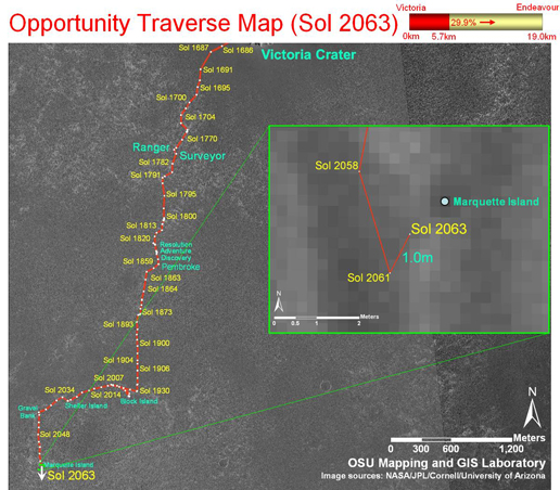 Opportunity's traverse map through sol 2063.