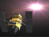 Artist's conception of the Swift satellite detecting a gamma ray burst