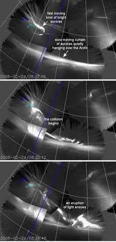 This three frame animation of THEMIS/ASI images shows auroras colliding on Feb. 29, 2008
