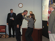 Deputy Administrator Lori Garver awards NASA's Exceptional Bravery Medal to Langley's Mike Kirsch
