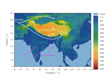 Graphic showing five locations ice cores taken on the Tibetan Plateau