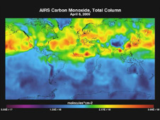 Carbon monoxide from fires in South America