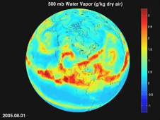 Still image from the water vapor animation of AIRS measurements