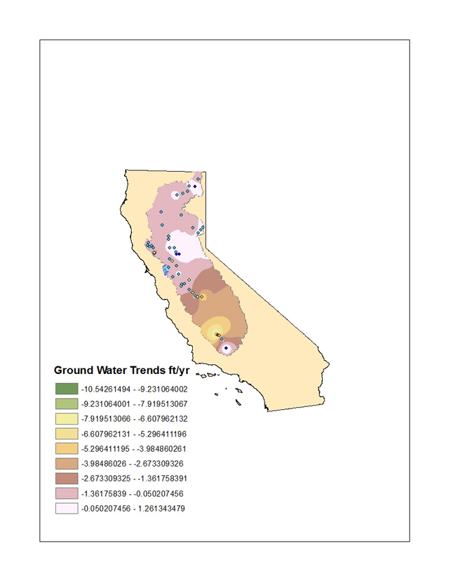 Preliminary analyses suggest that as much as 75% of the groundwater loss is occurring in the San Joaquin River Basin.