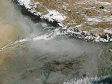 A blanket of haze is common in the Indo Gangetic Plain.