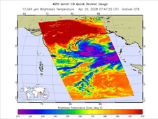 AIRS infrared image of Cyclone Nargis