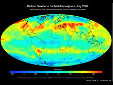 AIRS map of carbon dioxide in the Earth's middle troposphere