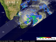 05B was producing heavy rainfall over areas of the southwestern Bay of Bengal and eastern Sri Lanka.