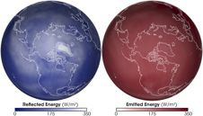 global images of reflected solar energy and heat emitted by the earth