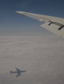 NASA's DC-8 casts a shadow on Arctic ice during a campaign to measure the presence of pollution in the Arctic atmosphere.