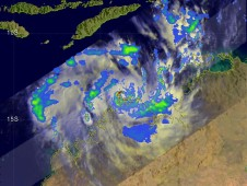 TRMM revealed a well defined center of circulation in Laurence with areas of heavy rain (red).