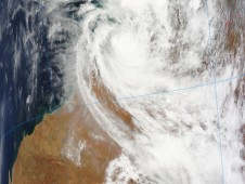 Cyclone Laurence over Northern West Australia on Dec. 17 as it continued to hug the coast and track west.