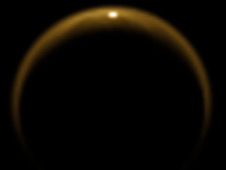 Reflection of sunlight off Titan lake