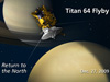 Artist concept of NASA's Cassini spacecraft flying by the north polar region of Saturn's moon Titan on Dec. 27.