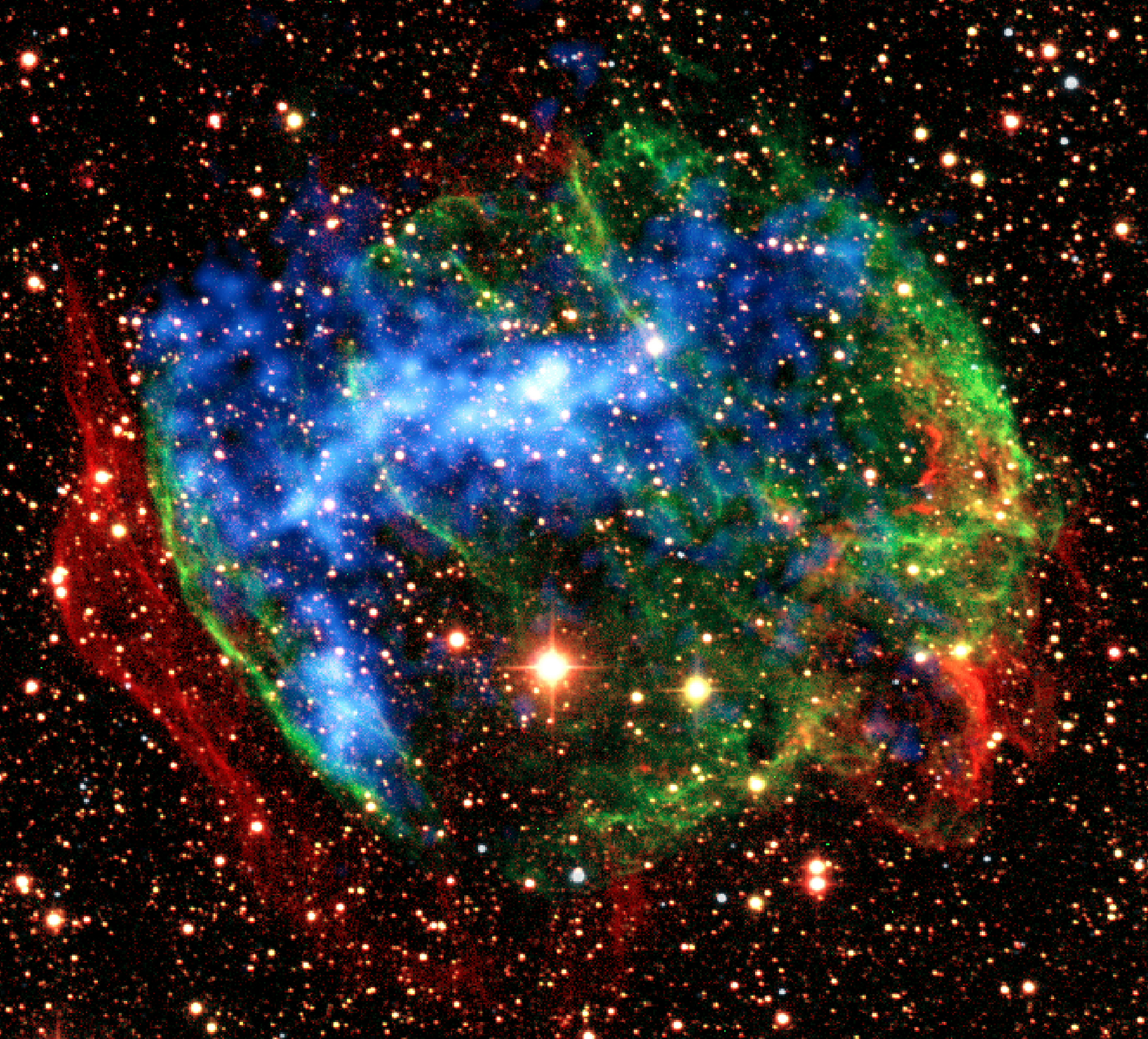 In the supernova remnant W49B, Suzaku found another fossil fireball. It detected X-rays produced when heavily ionized iron atoms recapture an electron