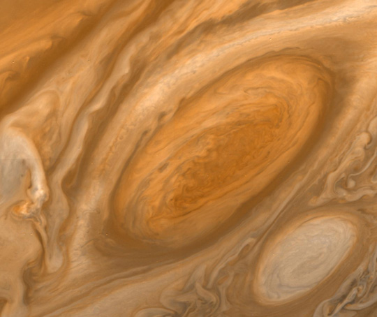 View of Jupiter's Great Red Spot from NASA's Voyager spacecraft