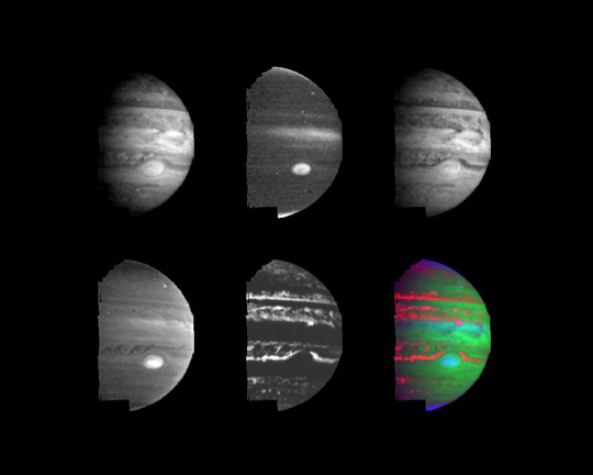 Six views show Jupiter's appearance as viewed at various near-infrared wavelengths