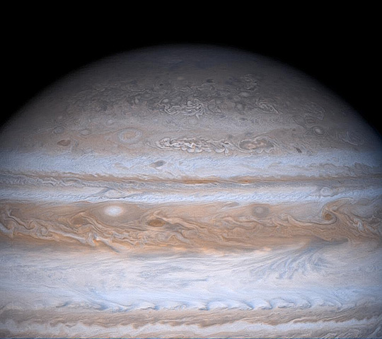 True color view of Jupiter's mottled appearance at high northern latitudes