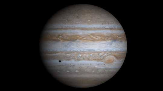 True-color simulated view of Jupiter is composed of four Cassini spacecraft images projected onto a globe