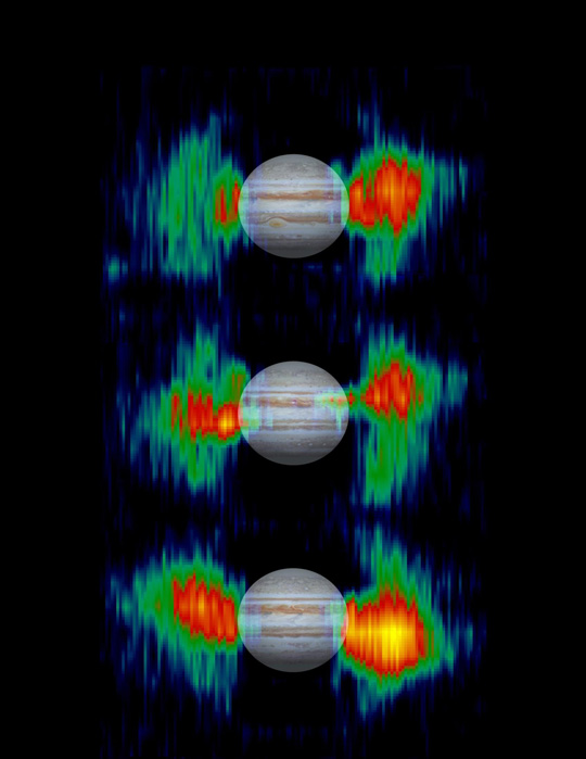 Three maps showing details in the radiation belts close to Jupiter