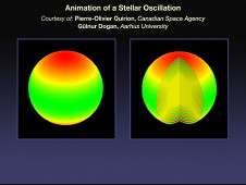 Graphic: stellar oscillation (pulsations at star's surface)