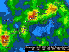 TRMM rainfall analysis of Laurence from Dec. 13-23, 2009 revealed that the heaviest rainfall totals of over 17.72 inches occurred in the Timor Sea near Cape Bougainville. Credit: SSAI/NASA, Hal Pierce