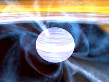 Still from animation of pulsar rotating