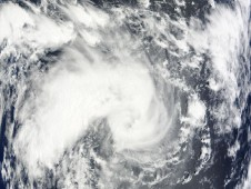 Tropical Storm Edzani on January 6 at 0450UTC safely at sea in the Southern Indian Ocean.
