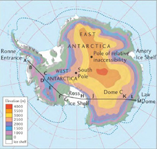 The Antarctic ice sheet. East Antarctica is much higher in elevation than West Antarctica.