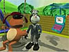 A cartoon dog sits on a swing as a cartoon skunk gets ready to push him