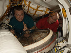 NASA astronaut Jeffrey Williams and Russian cosmonaut Maxim Suraev