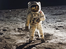 Buzz Aldrin on the lunar surface.