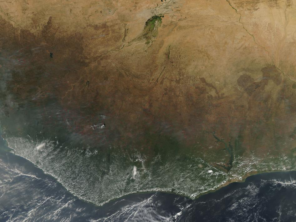 Agricultural fires burned in western Africa in early December 2009.