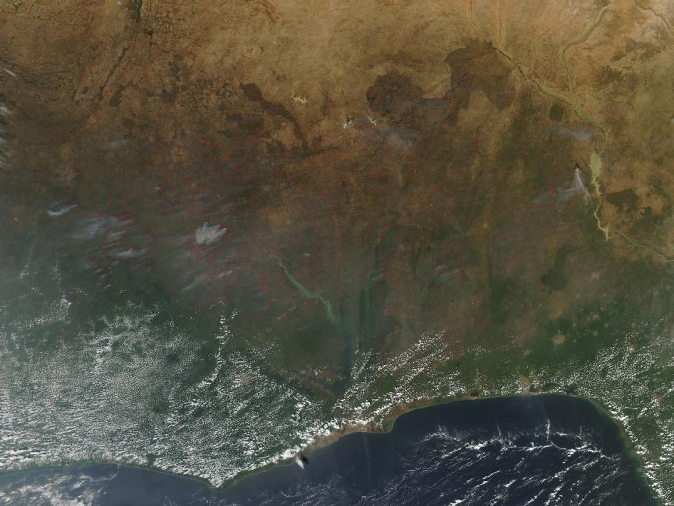 Agricultural fires burned in western Africa in early December.