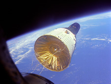Gemini VII in orbit 160 miles above Earth.
