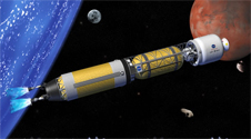 Artist's conception of a possible advanced nuclear thermal rocket for transporting humans to Mars