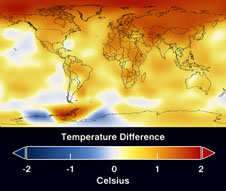 global temperatures with temperature scale