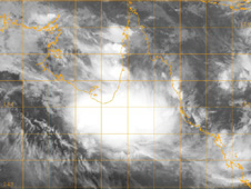 The Multi-functional Transport Satellite (MTSAT), managed by the Japan Meteorological Agency captured an infrared image of the low formerly known as Olga, on January 25 at 1330 UTC (8:30 a.m. ET). heading west toward the Northern Territory. Credit: JTWC/JMA