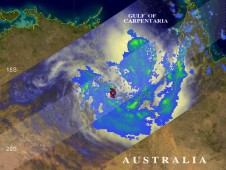 Olga was dropping light to moderate (yellow and green) rainfall along a large area of the Australia coast.