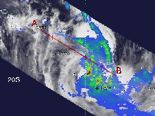 Nisha has strengthened quickly; many areas within the storm have rainfall rates of over 2 inches per hour (red).