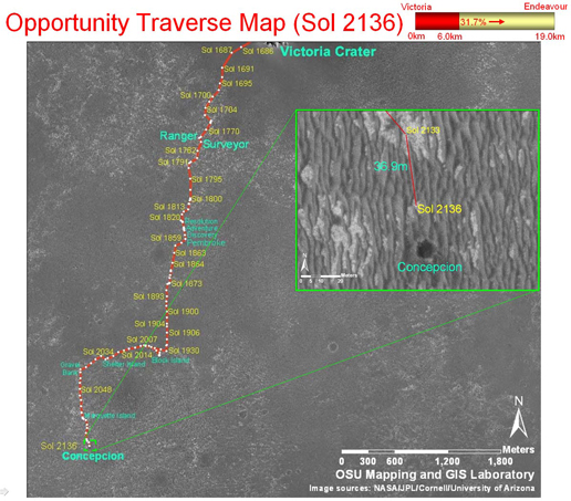 Opportunity's traverse map through Sol 2136