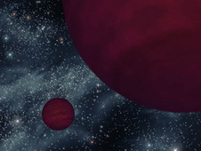 This artist's concept shows a pair of cool brown dwarfs.