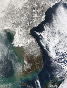 This image of snow on the Korean peninsula was taken on Jan. 3, 2010.