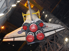 Space shuttle orbiter Endeavour in the Vehicle Assembly Building