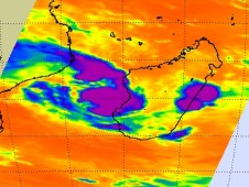 An infrared image of Fami's cloud temperatures as it was approaching landfall in Madagascar.