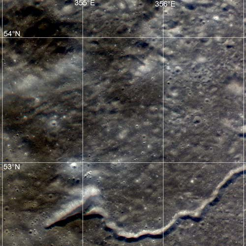 The region of interest northwest of Plato crater exhibits a wide variety of geologic features.