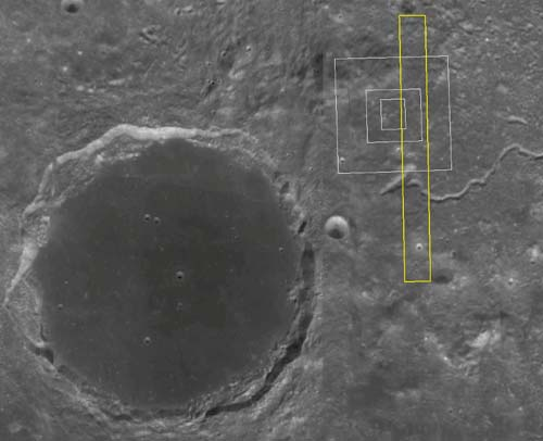 The large crater on the left is Plato, the white boxes indicate the Region of Interest, and the long yellow polygon indicates the size of the full outline.