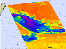 infrared view of Tropical Depression Fami - stretched thin and fading