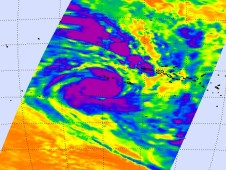 An AIRS image on Feb. 4 showed that French Polynesia and Tahiti were on the outer edges of powerful Cyclone Oli.