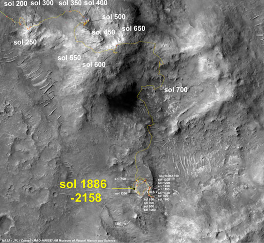 Opportunity's traverse map through Sol 2158